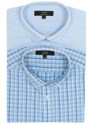 Blue Regular Fit Short Sleeve Shirts 2 Pack