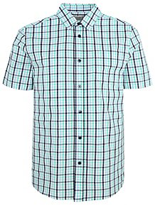 b86743dc1b5 Teal Check Print Short Sleeve Shirt