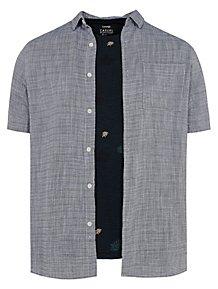 8bd7240a82 Blue Short Sleeve Shirt and Leaf T-Shirt Set