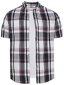 974987ff White Short Sleeve Check Shirt and T-Shirt Set
