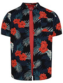 30ef9a98b Navy Floral Print Shirt and Red T-Shirt Set