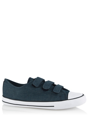 Blue 3 Strap Canvas Pumps