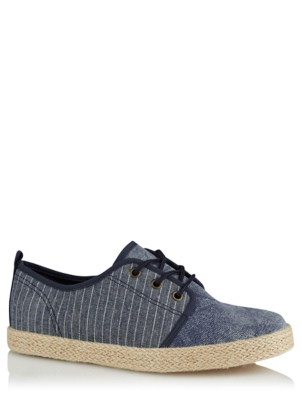 Navy Woven Lace Up Shoes