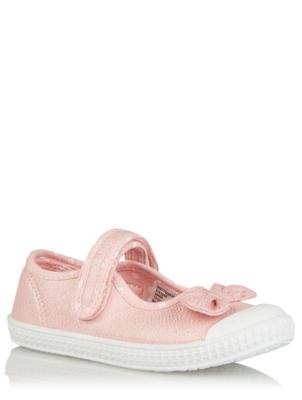 Pink Polka Dot Bow Detail Shoes