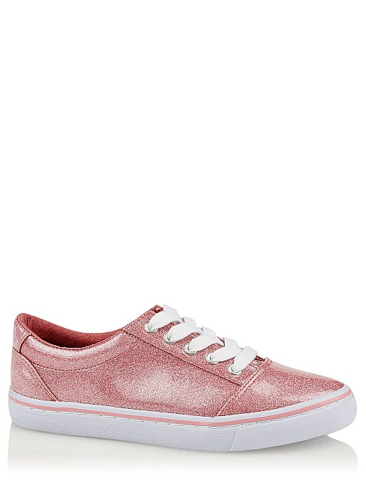 fa4a2fa52f4a Pink Glitter Lace Up Trainers | Kids | George