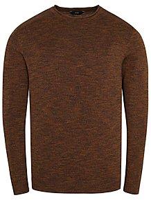 f1dfcb3bc849 Marl Chocolate Brown Bagel Neck Fine Knit Jumper