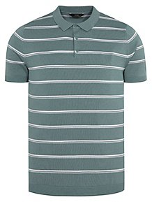 4444bd70bea9 Green Striped Short Sleeve Knitted Polo Shirt
