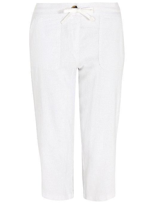 2c118e5741 White Linen-Blend Cropped Trousers
