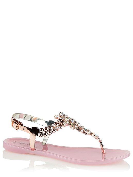 6e8dd00c6 Clear Pink Embellished Flip Flops. Reset