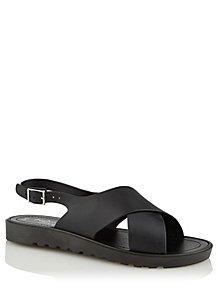 2161880d7 Black Faux-Leather Cross Strap Sandals