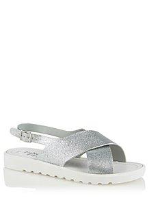 c869182ddcaa Silver Glitter Cross Strap Sandals