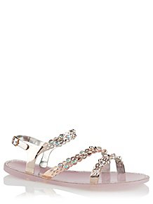 8a850ffc3 Clear Pink Embellished Sandals
