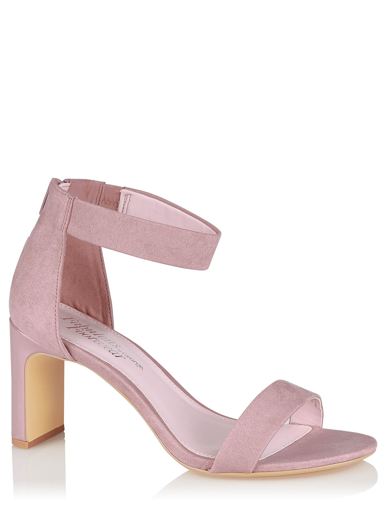 d5ede06e67805 Pink Faux-Suede Heeled Ankle Strap Sandals | Women | George