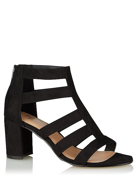 d3773b62fd0 Black Caged Strappy Block Heeled Sandals