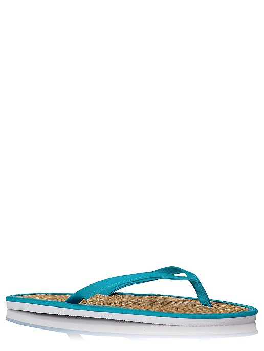 c8dd3bd74 Turquoise Trim Woven Flip Flops. Reset