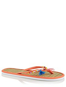 fdc905cf018d0a Orange Tassel and Bead Embellished Woven Flip Flops