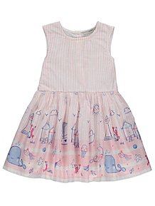 d09b9b22addced Pink Candy Stripe Seaside Scene Border Print Dress