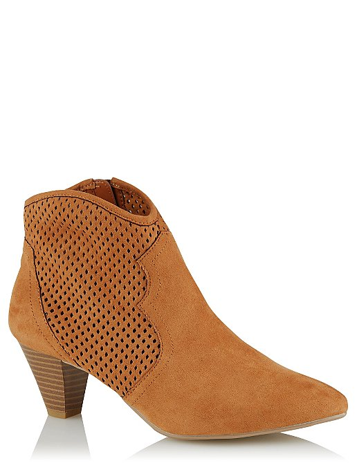 66d761cf1376d Tan Cut Out Cowboy Style Ankle Boots | Women | George