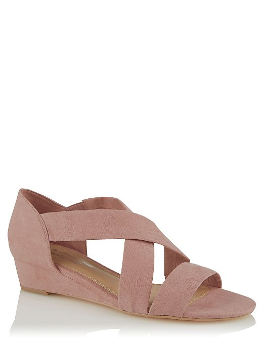 5e737b9a20 Pink Faux Suede Strappy Small Wedge Sandals | Women | George