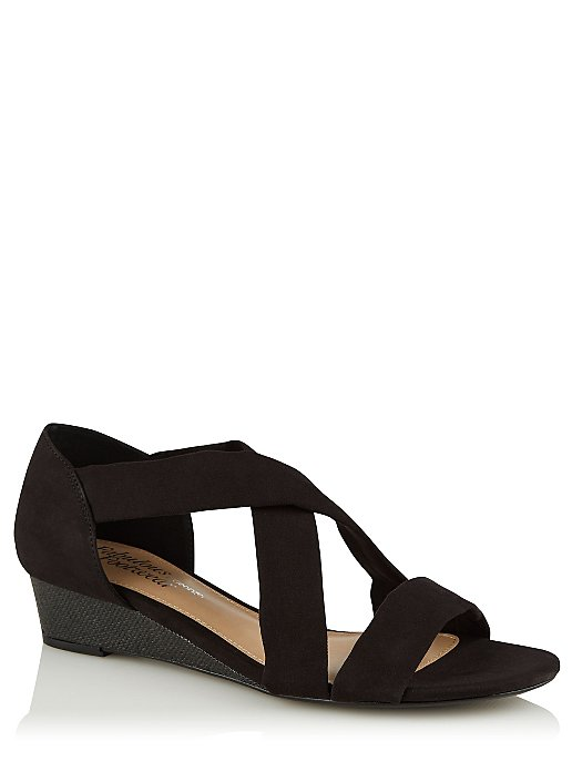 7822cd8023c3 Black Faux Suede Strappy Small Wedge Sandals. Reset