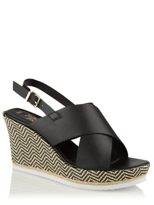 Black Woven Chevron Wedge Sandals
