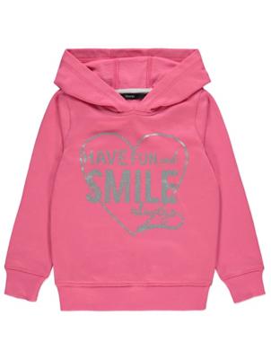 Pink Glitter Slogan Hoodie