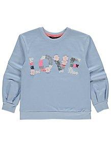 e9c8e52f718f8 Blue Love Embellished Slogan Sweatshirt