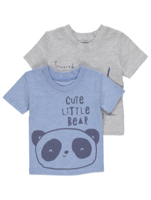 Bear Print Short Sleeve Slogan Tops