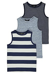 ec8cf922d5a Navy Striped Vest Tops 3 Pack. From £6