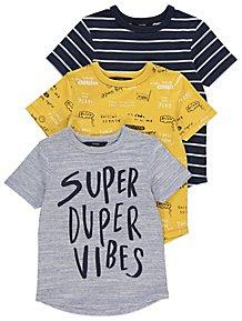 Assorted Short Sleeve Slogan T Shirts 3 Pack