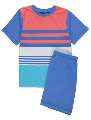 Blue Stripe Print Jersey Short Pyjamas