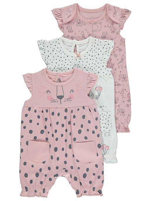 212aaa9de Pink Animal Print Jersey Rompers 3 Pack   Baby   George