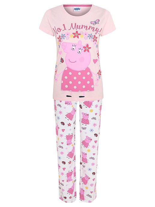 finest selection 736ee cff91 Peppa Pig Mummy Pig Pink Slogan Pyjamas
