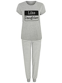 6557f595321 Grey Like Daughter Slogan Mini Me Pyjamas