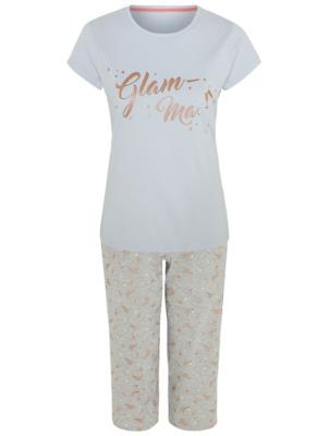 Blue Glittering Glam-Ma Cropped Leg Pyjamas