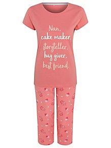 667475cfb6 Coral Nan Slogan Cake Print Pyjamas