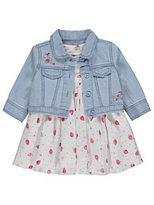 a51fb7c437d Strawberry Dress and Denim Embroidered Jacket Outfit