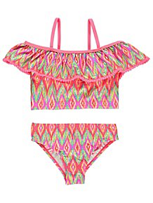 614429a2f2256 Harry Potter Pink Swimsuit. (6). Neon Coral Diamond Print Pom Pom Trim  Bikini Set