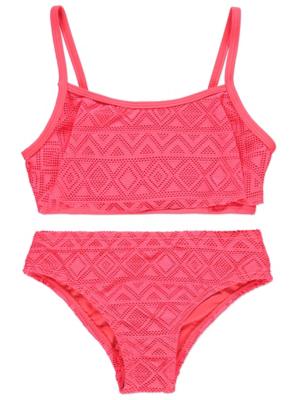 Neon Coral Crochet Bikini Set