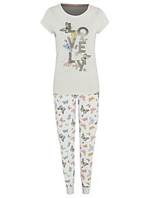 1ff6e944ff68 Butterfly Lovely Slogan Pyjamas