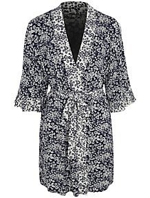 Navy Floral Ruffled Trim Wrap Dressing Gown 431c6c040