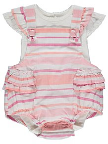 cfe22a5e50f Pink Striped Dungarees and Bodysuit Outfit