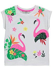 White Sequinned Flamingo Short Sleeve T-Shirt ba4d22b7f38a