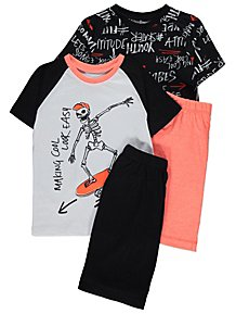 Skater Skeleton Short Sleeve Pyjamas 2 Pack 1a0936c61
