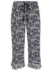 2b7d8c71eb Navy Floral Ruffled Trim Cropped Pyjama Bottoms
