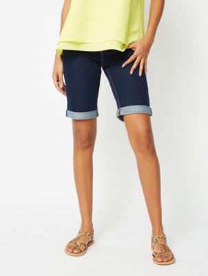 Dark Blue Knee Length Denim Shorts