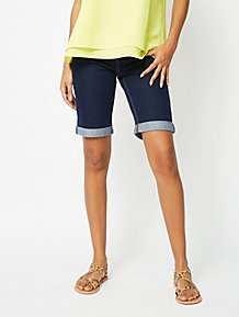 787a3ec678079 Dark Blue Knee Length Denim Shorts