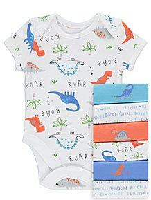 41faa006714 Dinosaur Print Bodysuits 7 Pack