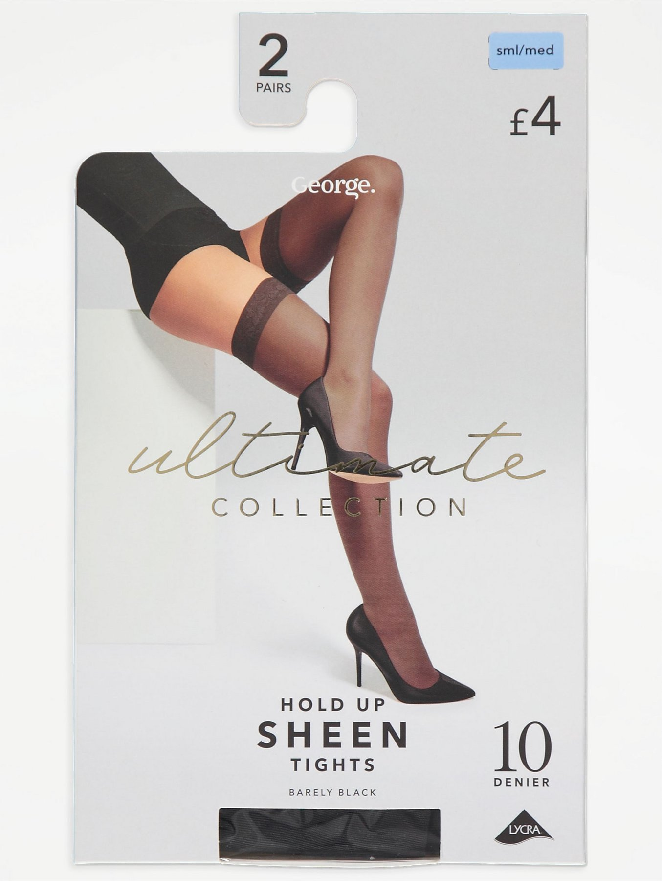 162aa2166 Barely Black 10 Denier Sheen Hold Up Tights 2 Pack