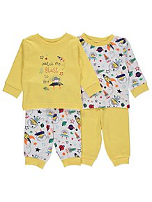 f9ee3bcaeb7 Yellow Space Monkey Pyjamas 2 Pack